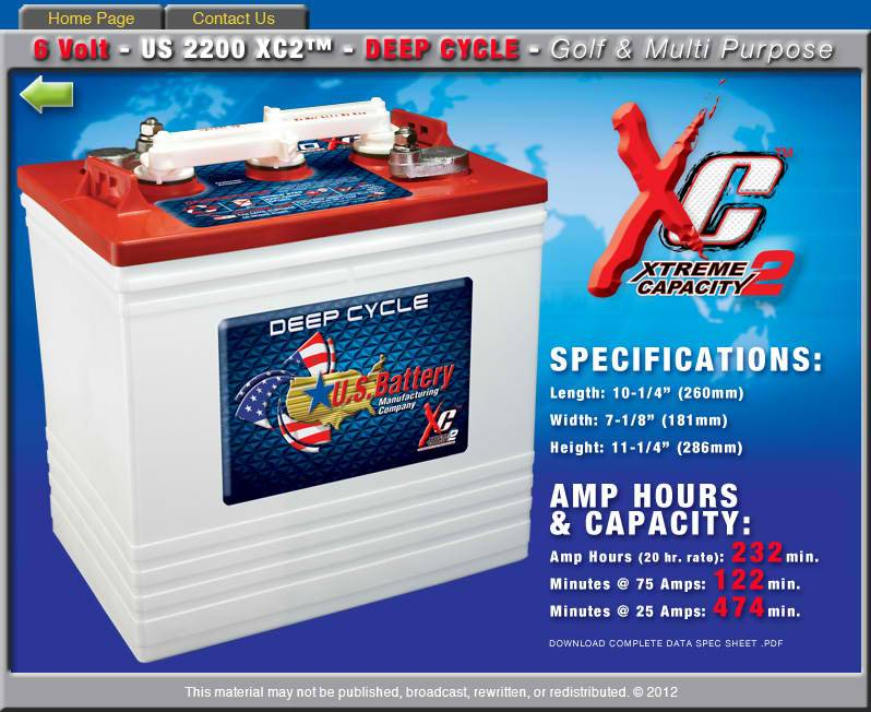 US Battery US2200XC 6-Volt Deep Cycle Golf Car Battery