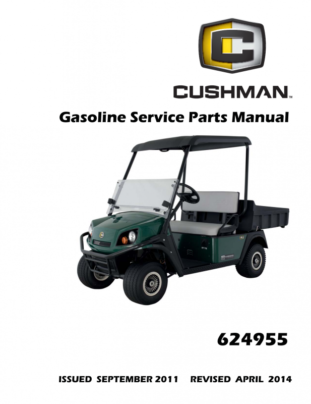 Manual  Service Parts Cushman Hauler 1200x 800x Gas 624955
