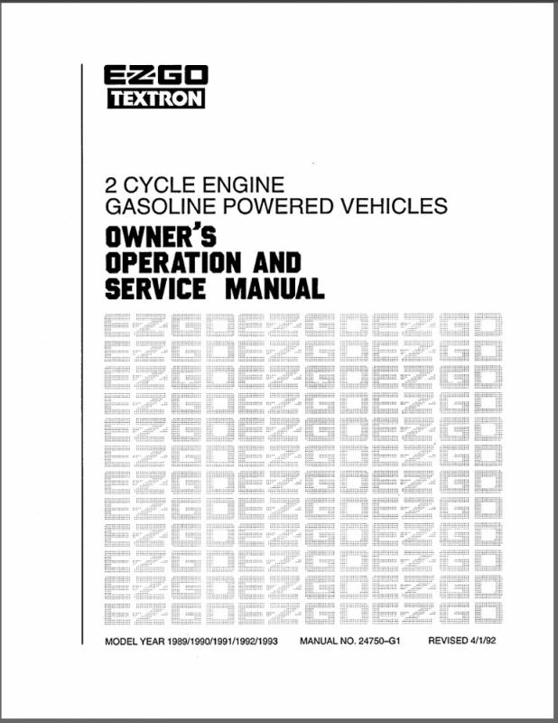 E Z Go Manual Technicians 2 Cyc 89 93 Part 24750g1 Genuine Ez Go Golf Cart Parts